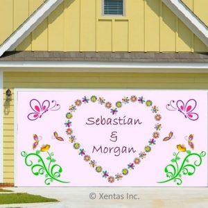 alt=garage-door-decor-wedding-butterflies